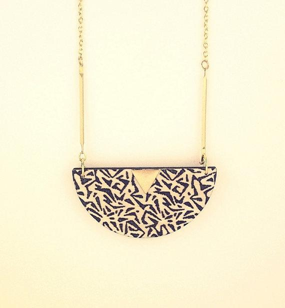 Tribal half moon wooden necklace by RachellovesBob on Etsy