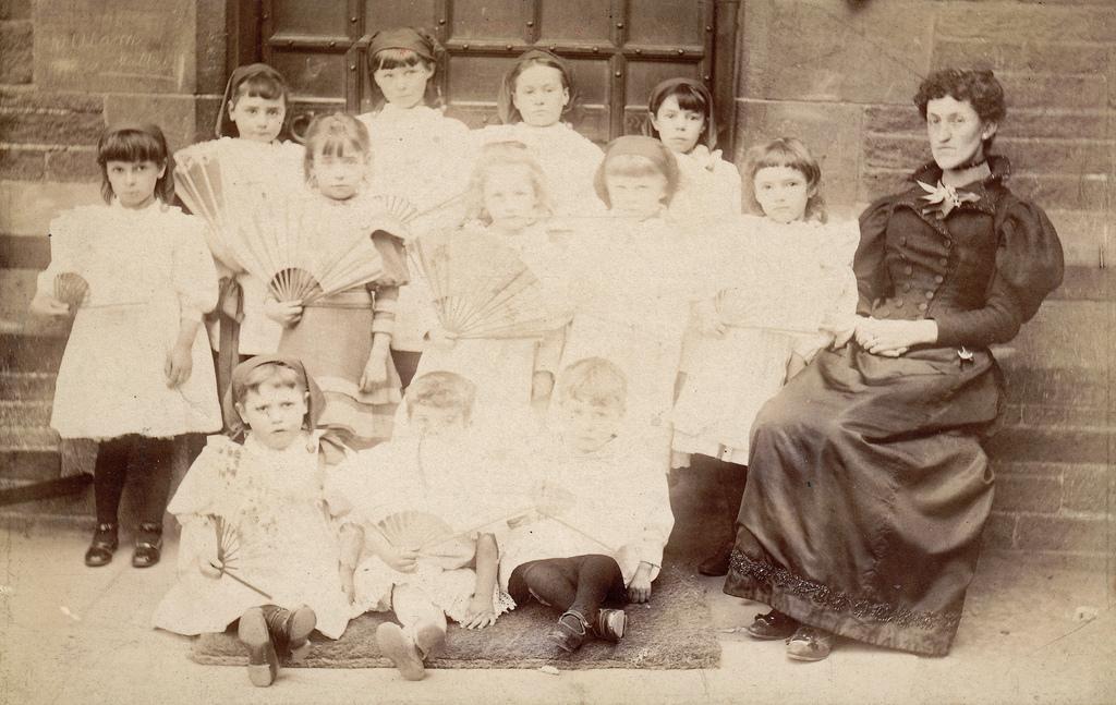 Schoolgirls with fans. Bingley, Yorkshire. | Flickr - Photo Sharing!