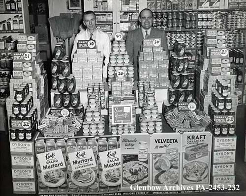 Kraft displays, Jenkins' Groceteria, Calgary, Alberta.c1945 | Flickr - Photo Sharing!