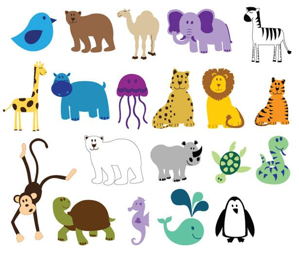 Free Vector Art: Happy, Cute, and Colorful Animals: Perfect for Custom Kid's Shirts and Custom Onesies | CustomizedGirl Blog