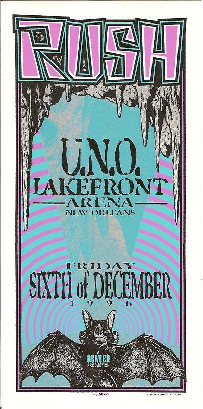 Rush UNO 1996 New Orleans LA Concert Handbill Mark Arminski Art NM | eBay