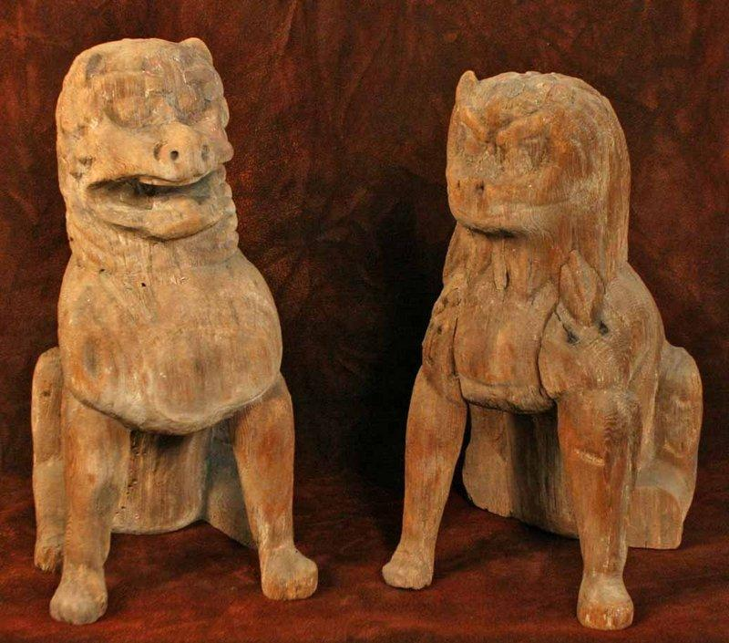 Early Heian Period Wood Koma Inu Temple Dogs (item #1001198, detailed views)