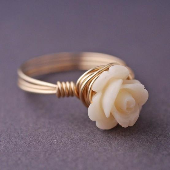 My Style Pinboard / 14k Gold Filled Cream Coral Rose Ring Wire by georgiedesigns