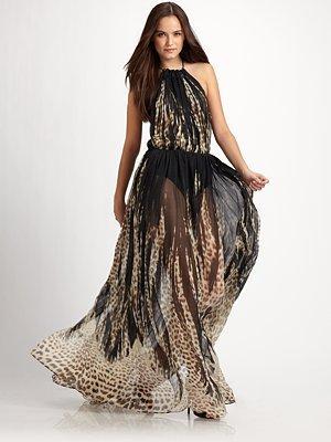 Just Cavalli - Leotulip Semi-Sheer Leopard-Print Silk Chiffon Gown - Saks.com