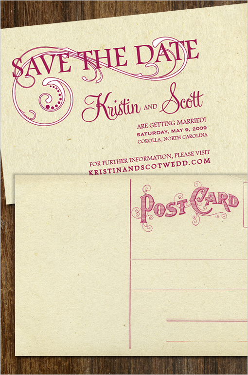 Vintage Swirl Save the Date Free Postcard Template Downloads