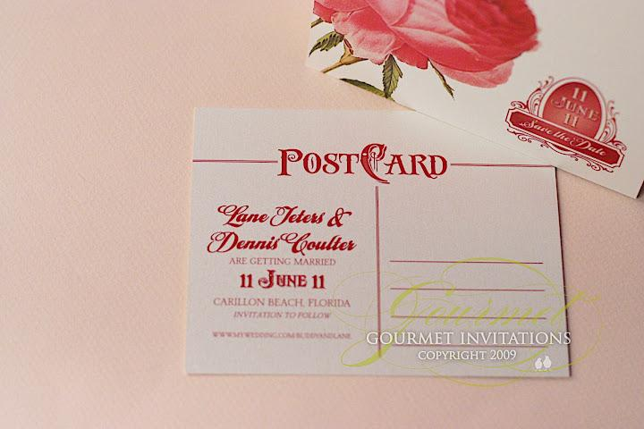 Vintage Rose Postcard Save the Dates | Gourmet Invitations