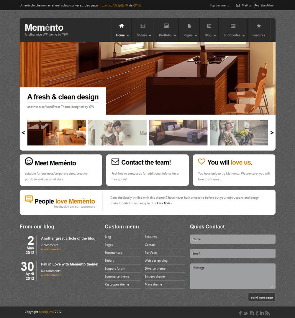 Meménto - A Flexible Corporate WordPress Theme - ThemeForest Previewer