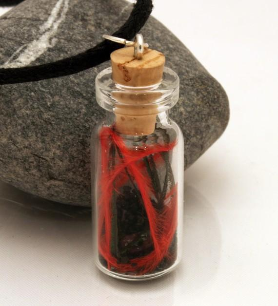 Phoenix down feathers glass vial pendant with garnet by XercesArt