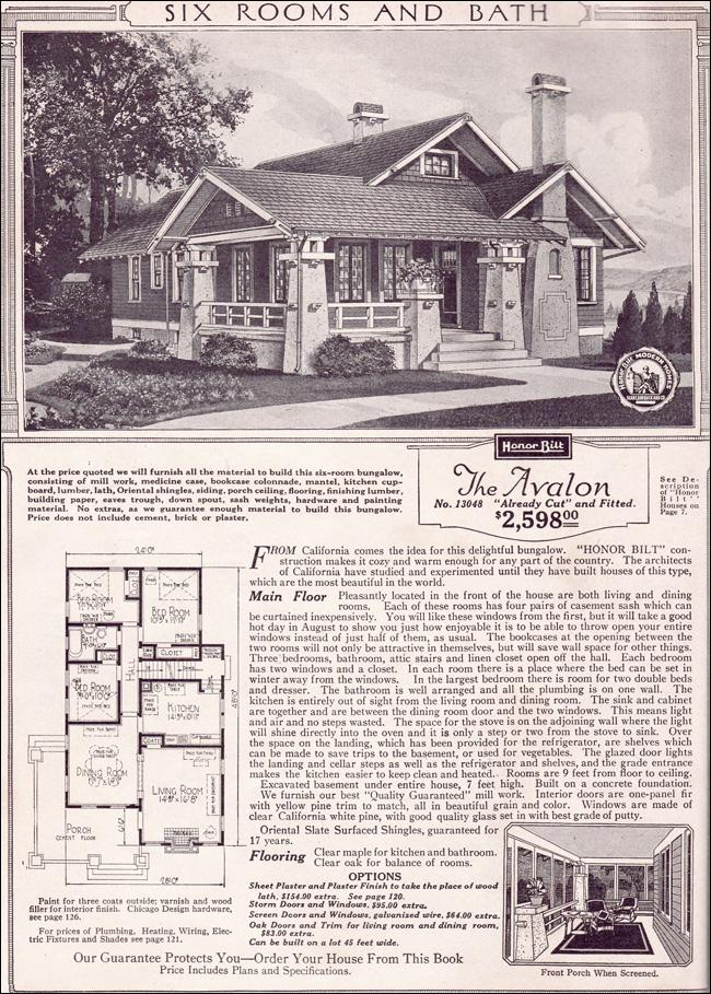 Avalon - 1923 Sears Kit Houses - California Bungalow - Small Craftsman Home