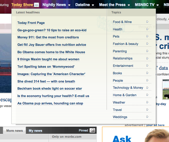 Unique Large Content Drop-down Menu Subnavigation Web Design from MSNBC.com › PatternTap