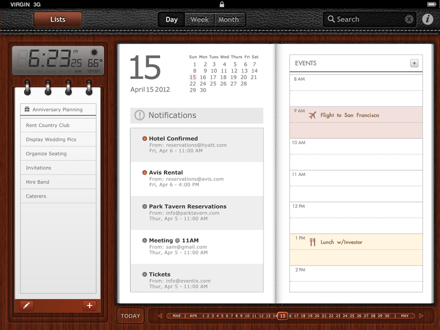 ipad calendar - Mobile Interface - Creattica