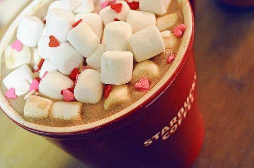 coffee, heart, mashmallow, pink, starbucks - inspiring picture