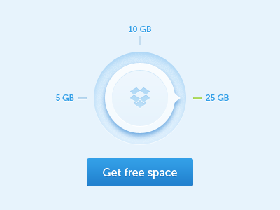 Dropbox free space dial button by Lukas Troup