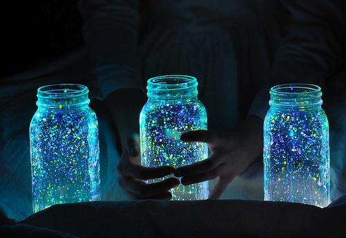 girl, glow, jar, lights, neon, night - inspiring picture on Favim.com