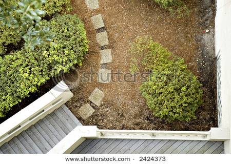 View From Above Of Stone Path, Stairs, Balcony And Bushes Stock Photo 2424373 : Shutterstock