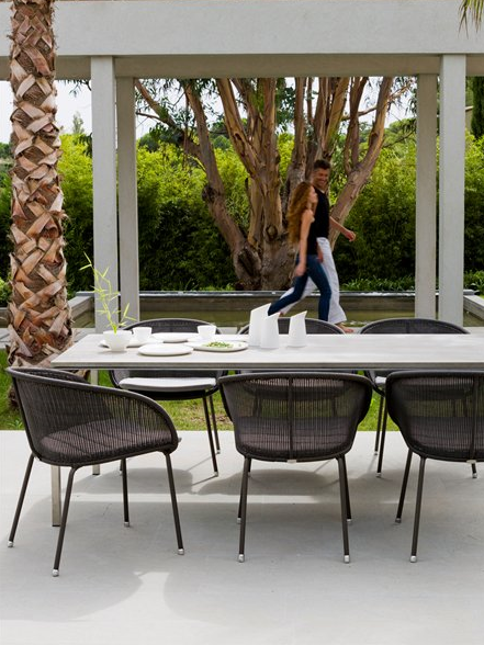 Contemporary garden stacking chair - SHELLTON by Foersom & Hiort - Lorenzen - Cane-line A/S