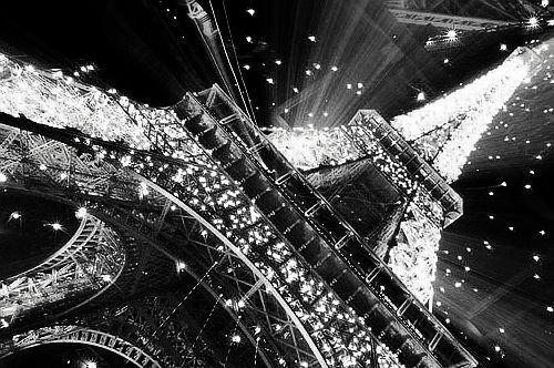 black and white, bright, eiffel tower, light, night, paris - inspiring picture on Favim.com