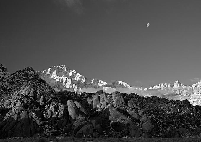 Moonset over Mt. Whitney: Photo by Photographer Chris VenHaus - photo.net