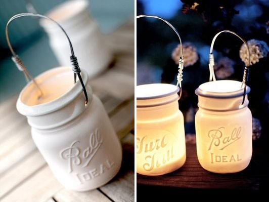 Painted Mason Jars...candle idea?