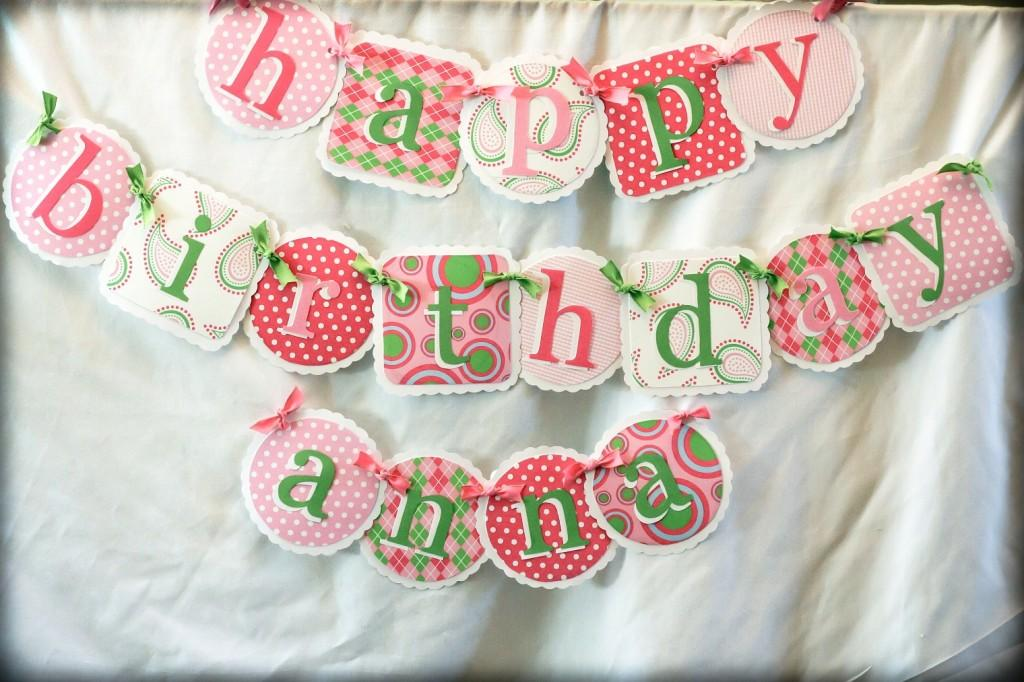 pink and green party banner | party with my sister