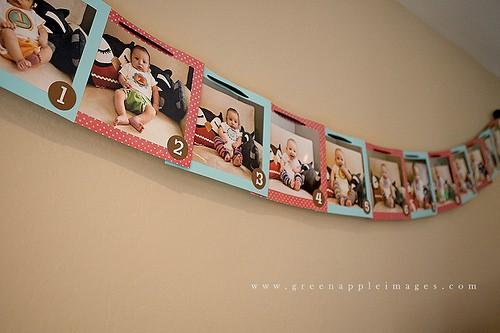 1st Birthday Party Ideas / Banner with month-by-month pictures for birthday party
