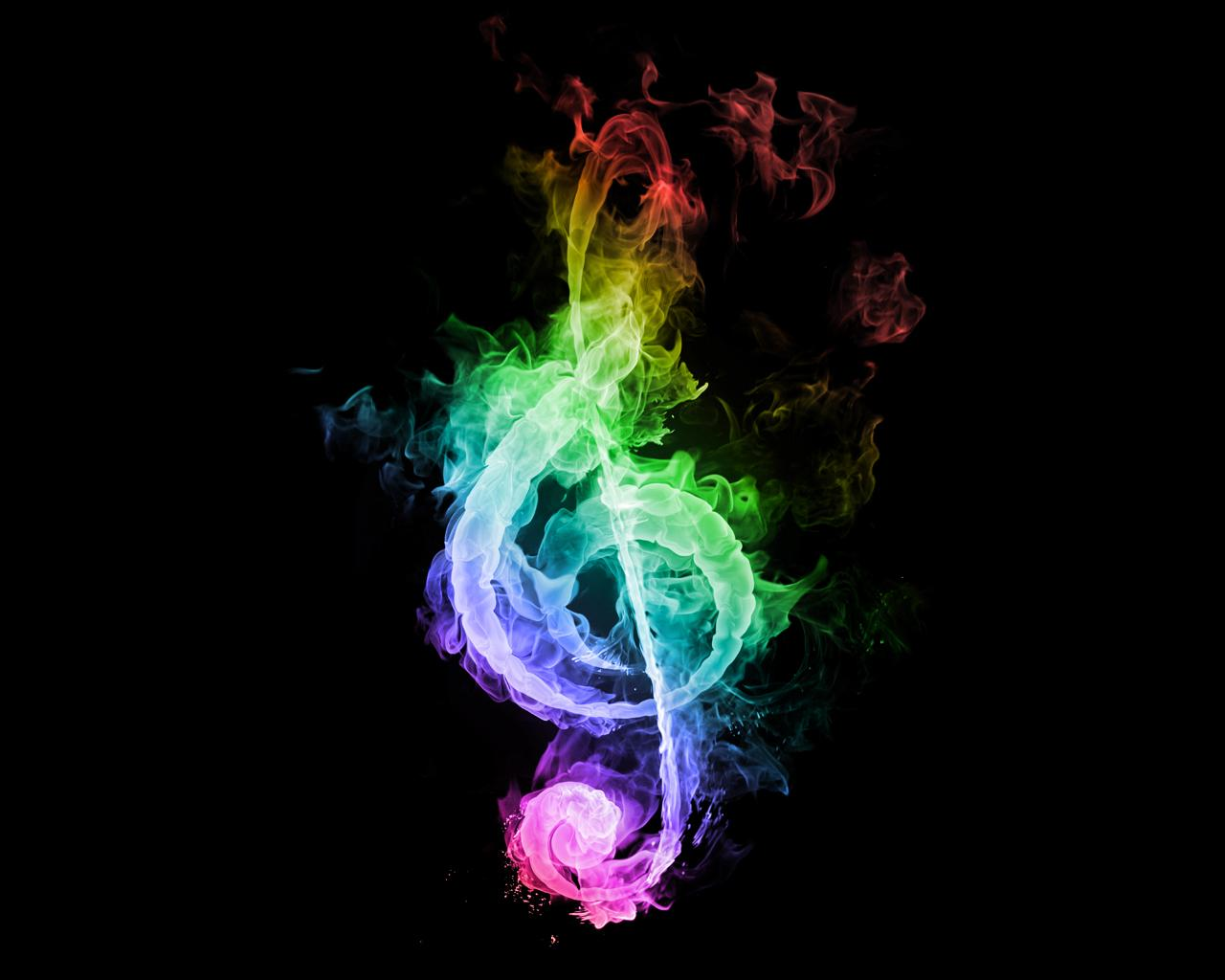 abstract flames music dark rainbows treble clef g-clef black background - Wallpaper (#780938) / Wallbase.cc