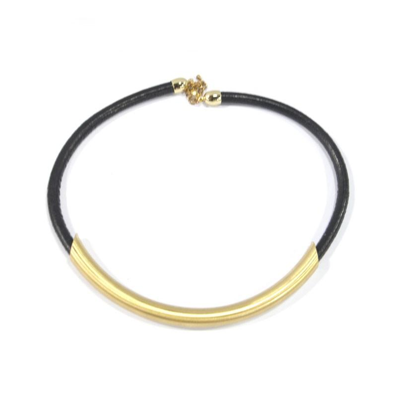 Cylindrical Shape Leather Strap Necklace - Necklaces - Fashion Jewelry