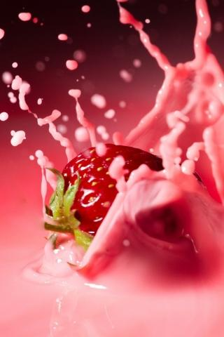Milk and Strawberry iPhone Hd Wallpaper Free iPhone Wallpapers and Backgrounds | WallpaperLa