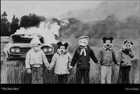 Black and white paintings of re-imagined photos — Lost At E Minor: For creative people