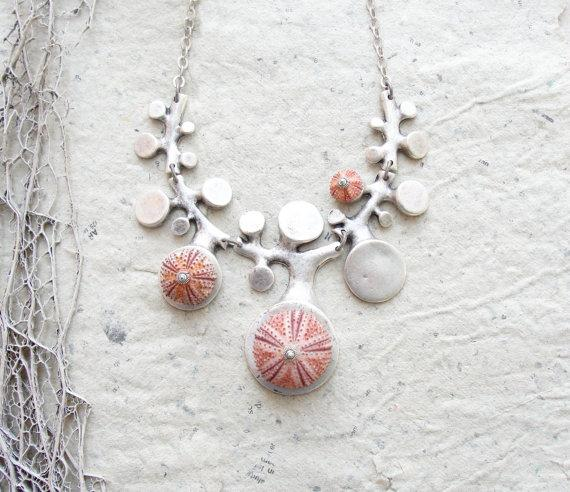 Sea Urchin Collection Organic Pink Necklace by StaroftheEast