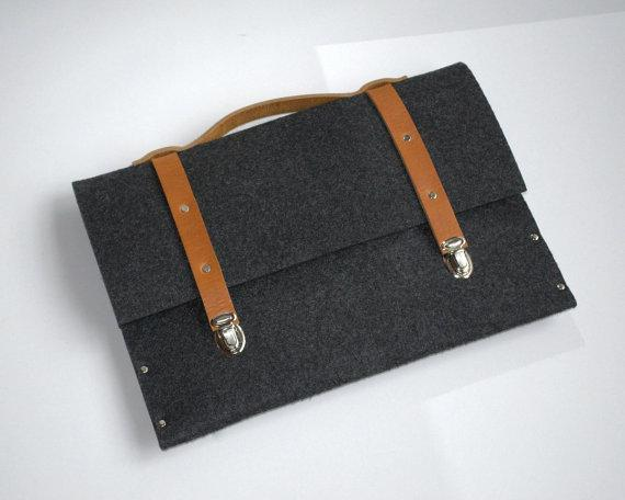13 MacBook Pro sleeve dark grey case felt briefcase by SleeWay