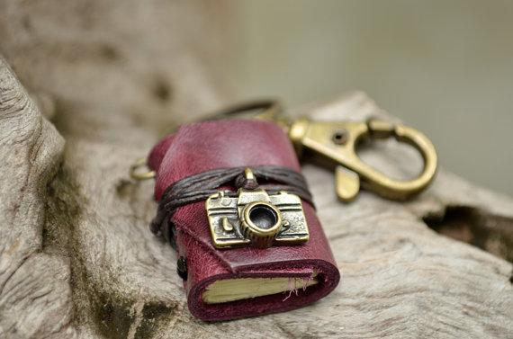 Miniature Book keychain Camera & Purple grapes color by fullmoonn