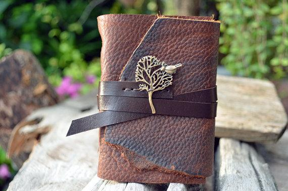 MiniBook A7 Big Tree & Vintage Brown by fullmoonn on Etsy