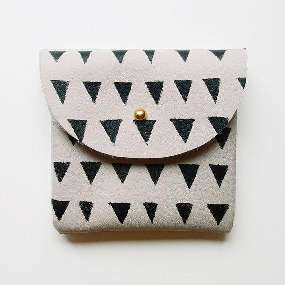 COIN PURSE // ivory leather with small black by BlackbirdAndTheOwl