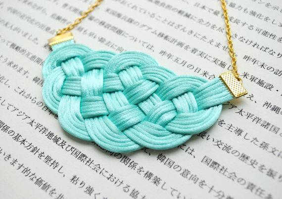 Knotted rattail necklace in mint and gold by elfinadesign on Etsy