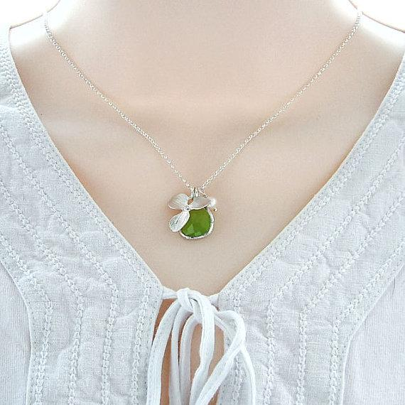 Orchid Necklace Apple Green Glass and Pearl by RoseAndRaven
