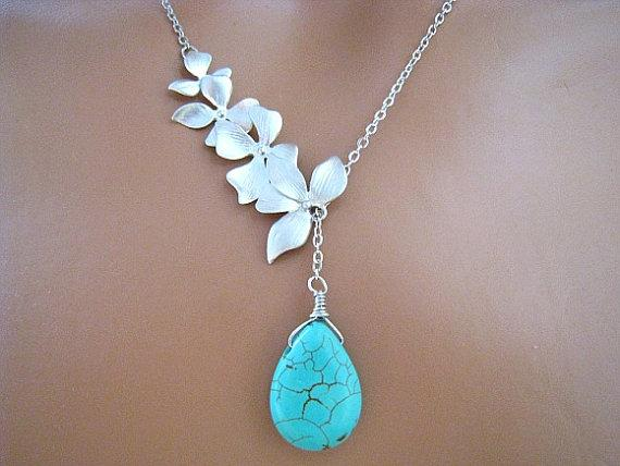 Four Orchid Flowers withTurquoise Briolette by JewelryMORIAH