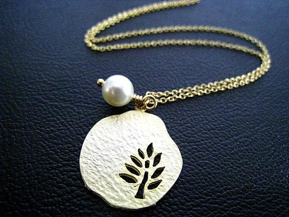 Gold Plated Tree with Cream Pearl Necklace by JewelryMORIAH