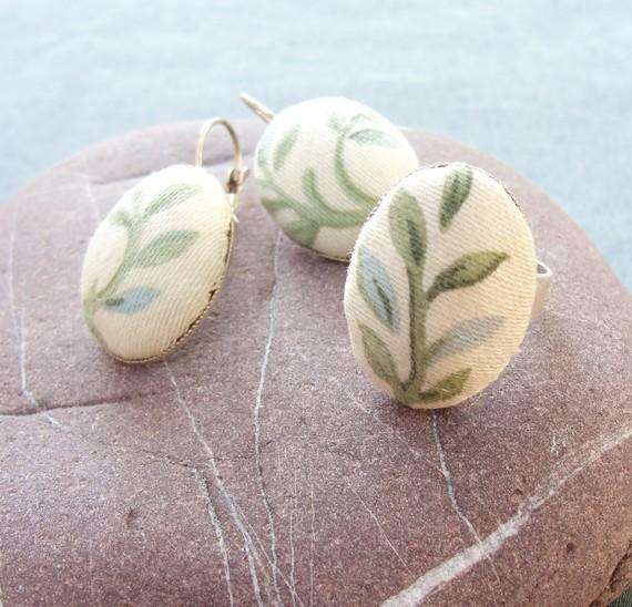 Green Branches Fabric Ring and Earrings Set by StaroftheEast