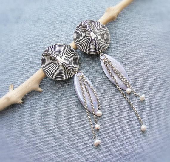 Heartbeat Enamel and Pearls Clip on earrings by StaroftheEast