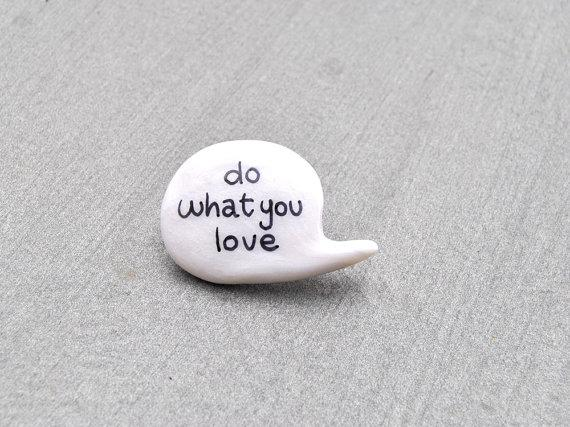 white polymer clay brooch speech bubble love by madamaRobe on Etsy