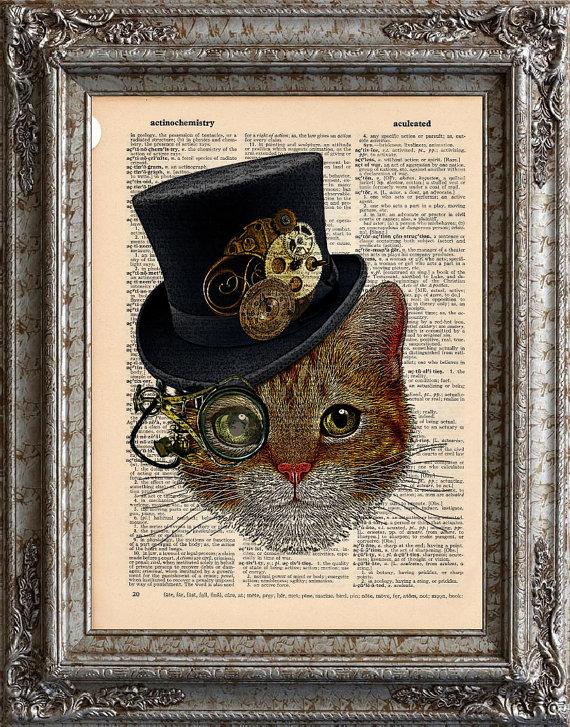 Cat with Steampunk Hat on Vintage Upcycled Dictionary by EcoCycled