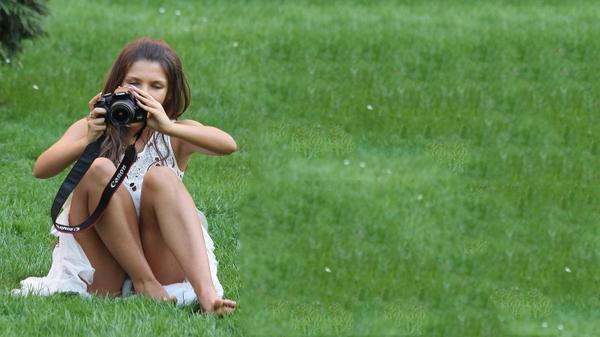 , brunettes women grass photo camera 1600x900 wallpaper – Grass Wallpaper – Free Desktop Wallpaper
