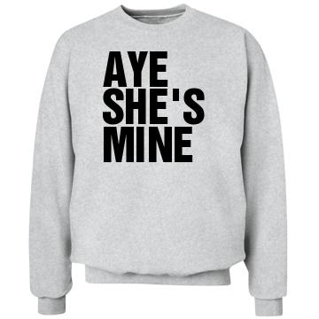 Aye She's Mine Left Align: Custom Unisex Hanes Crew Neck Sweatshirt - Customized Girl
