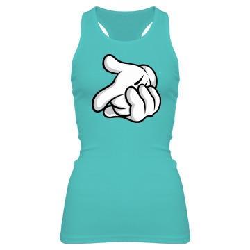 Mouse Hands Gun - Junior Fit Bella Sheer Longer Length Rib Racerback Tank Top - FunnyShirts.org