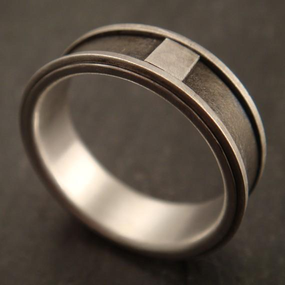 Man's Wedding Band in Sterling Silver and by DownToTheWireDesigns