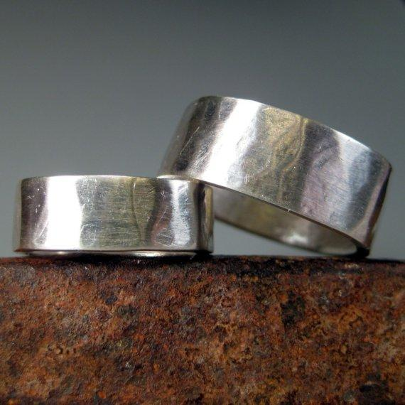 Organic Hammered Wedding Bands Sterling Silver by sarawestermark