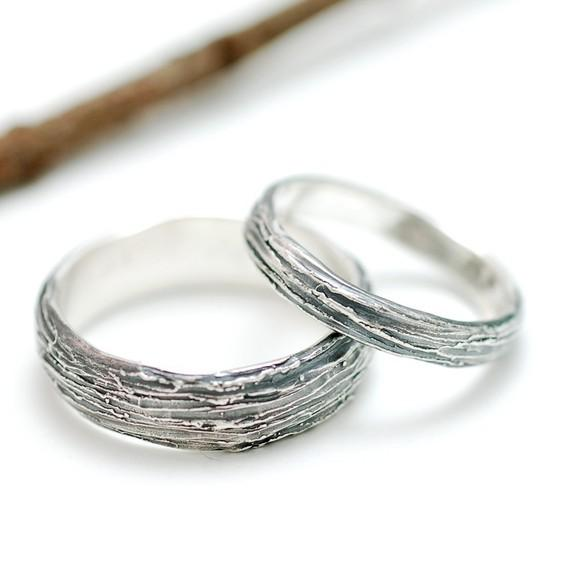 Sterling Silver Tree Bark Wedding Bands 3mm by BethCyrWeddings