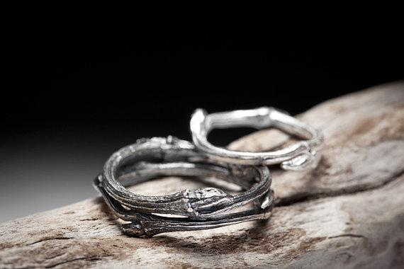 twig wedding bands sterling silver rings Elvish You by redsofa