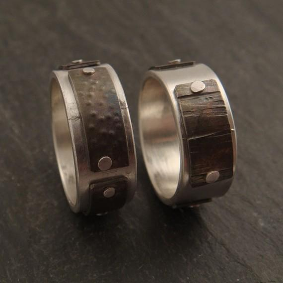 Sterling and Textured Titanium Panel Rings by DownToTheWireDesigns